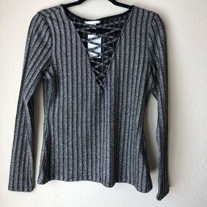 Metallic Knit Cross-Front Top